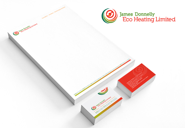 James Donnelly Eco Heating, Logo and Corporate Stationery Suite, Co. Mayo, Ireland.