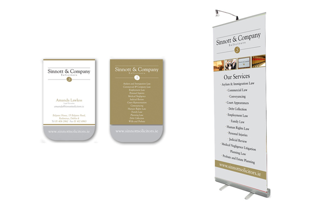 Sinnott & Company Solicitors, Business Cards and Pull Up Banner, Dublin, Ireland.